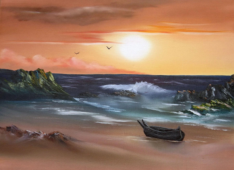 Oils Painting - Stranded At Sunset by Cynthia Adams