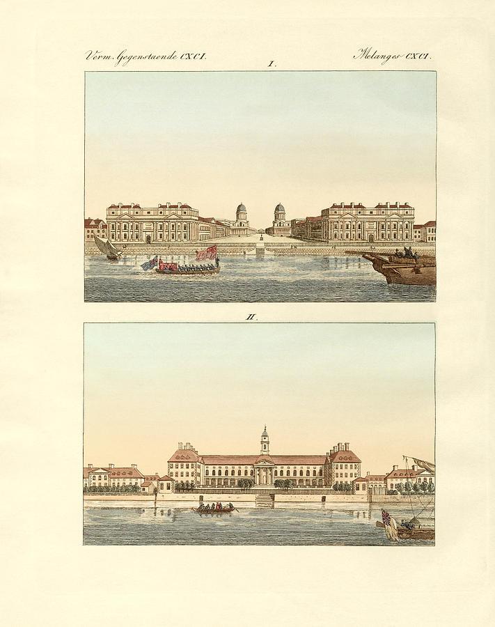 Greenwich Drawing - Strange Buildings In England by Splendid Art Prints