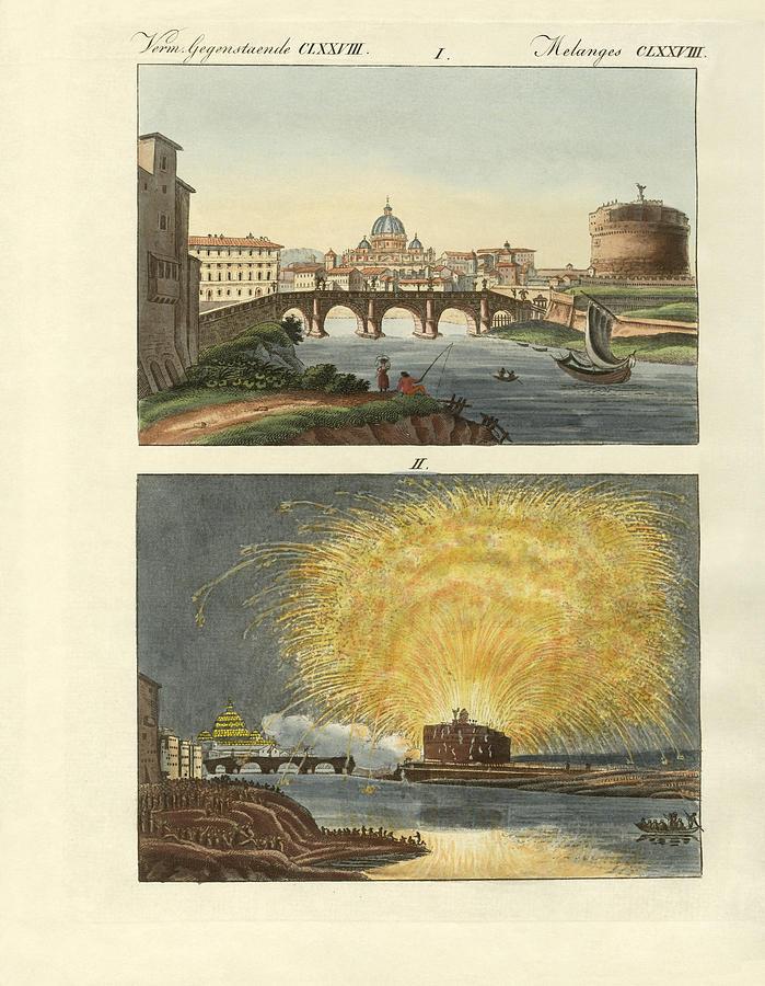 Castel Sant Angelo Drawing - Strange Buildings In Rome by Splendid Art Prints