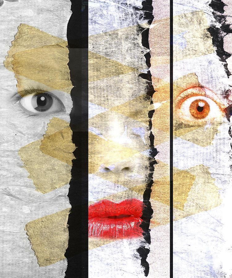 Eyes Digital Art - Strange Faces by David Ridley