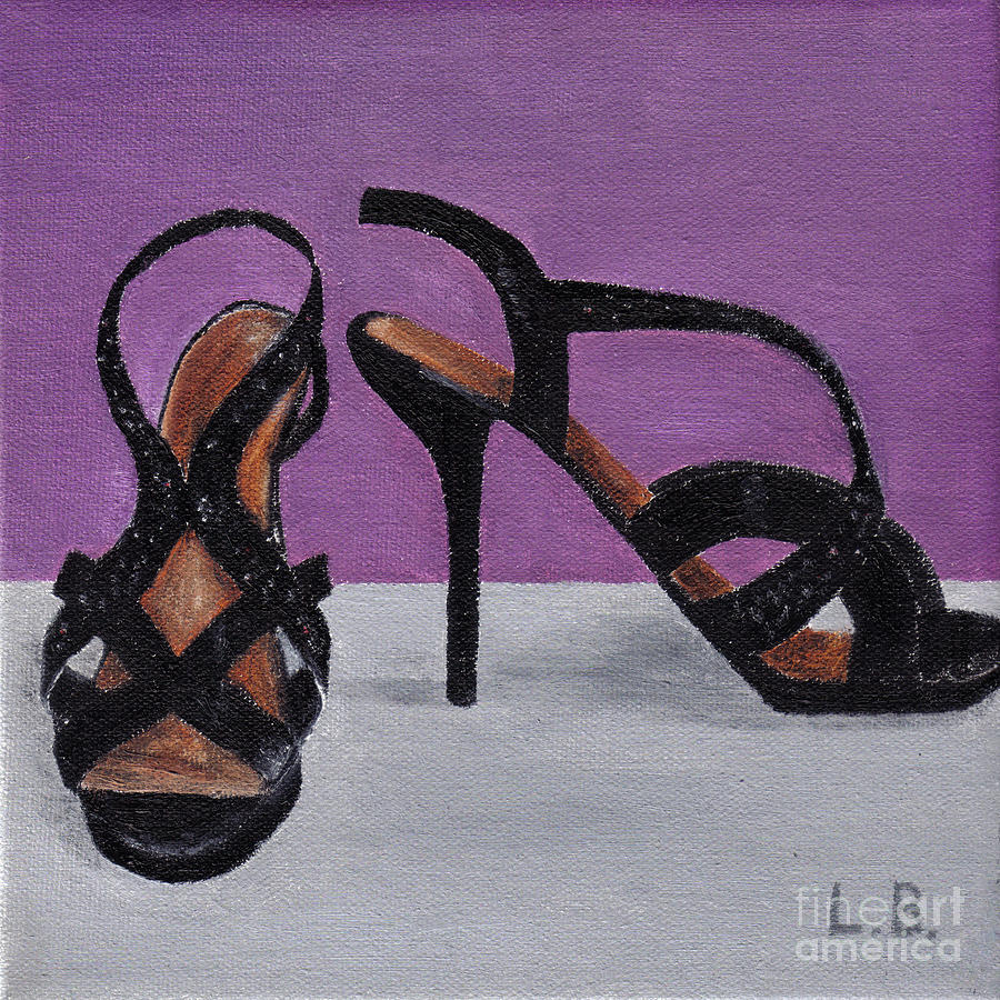 Strappy Painting - Strappy Black Heels For Maddy by Laurel Best