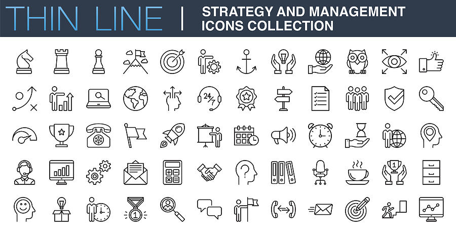Strategy and Management Icons Collection Drawing by Phototechno
