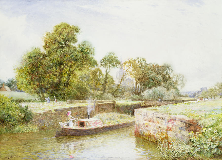 Canal Painting - Stratford Lock by Arthur Claude Strachan