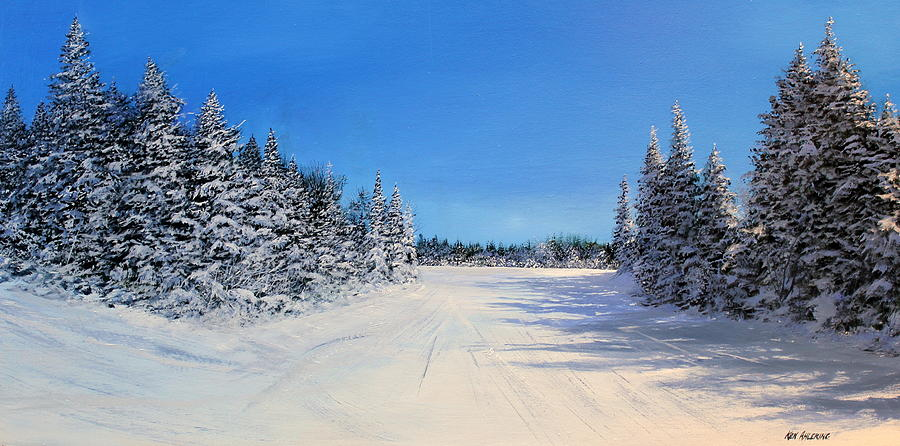 Ski Painting - Stratton Intersection by Ken Ahlering