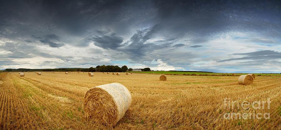 Storm Photograph - Straw Bales Pano by Jane Rix