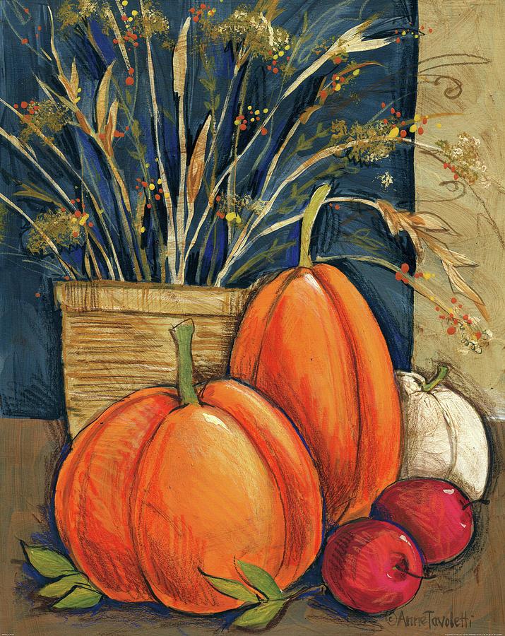 Apple Painting - Straw Basket by Anne Tavoletti