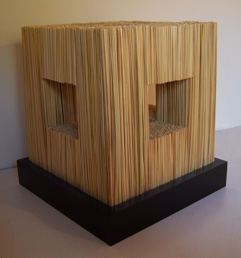 Wood Sculpture - Straw Cube by Daniel P Cronin