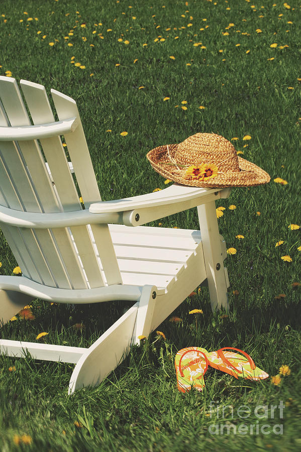 Adirondack Photograph - Straw Hat On Chair by Sandra Cunningham