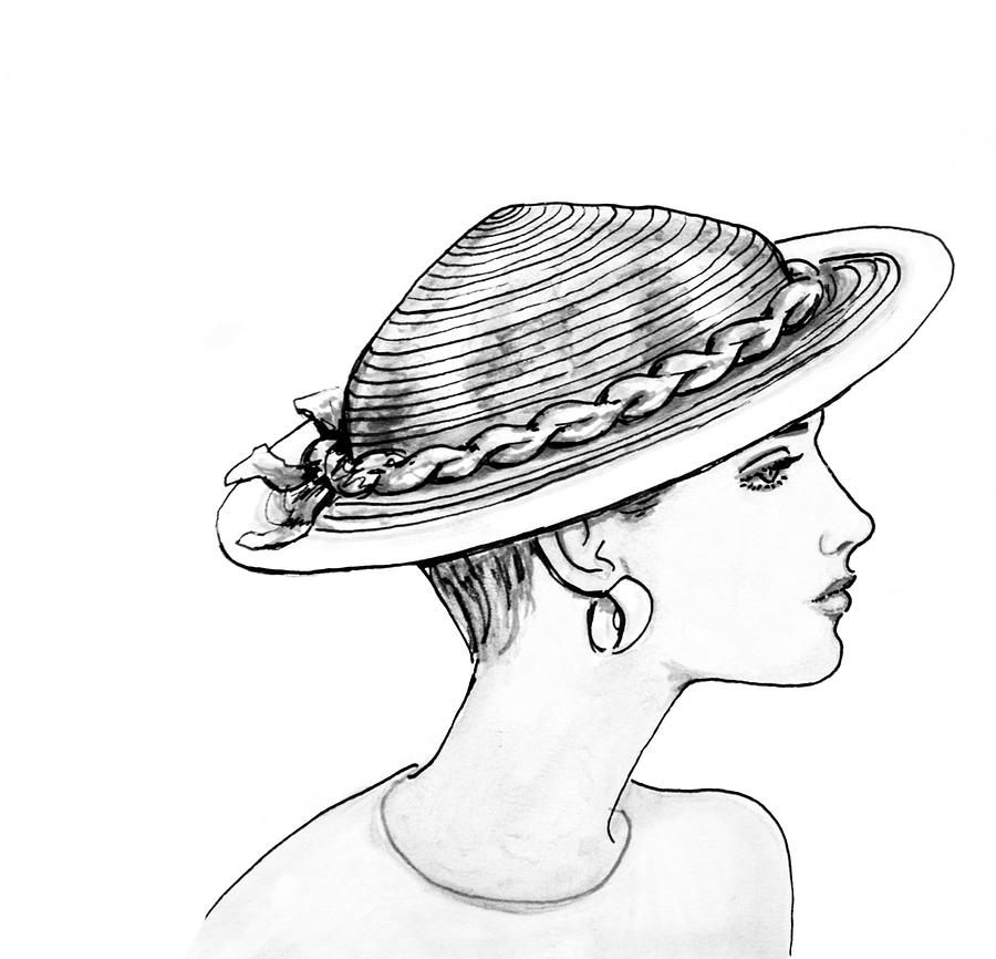 Fashion Illustration Drawing - Straw Hat by Sarah Parks