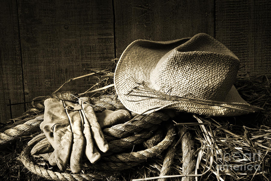 Bale Photograph - Straw Hat With Gloves On A Bale Of Hay by Sandra Cunningham