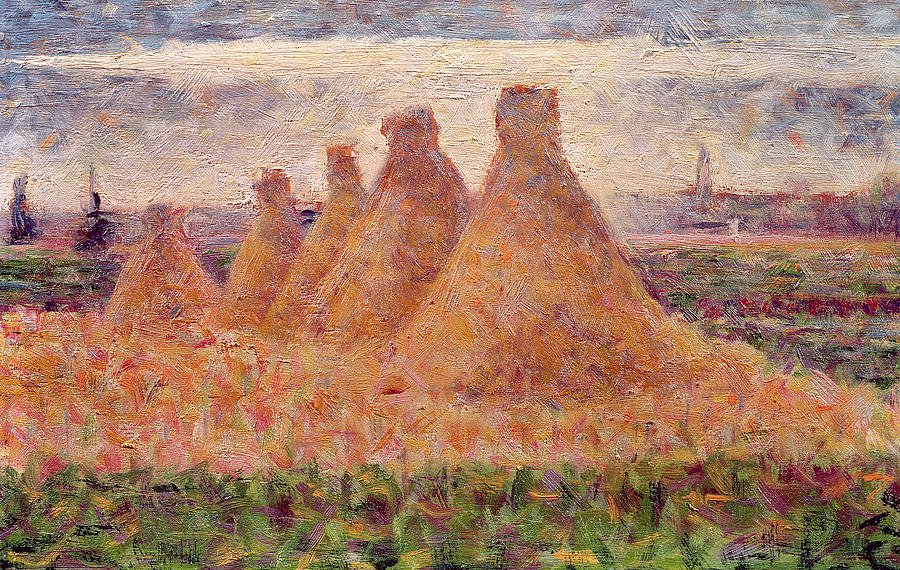 Stacks Painting - Straw Stacks by Georges Pierre Seurat
