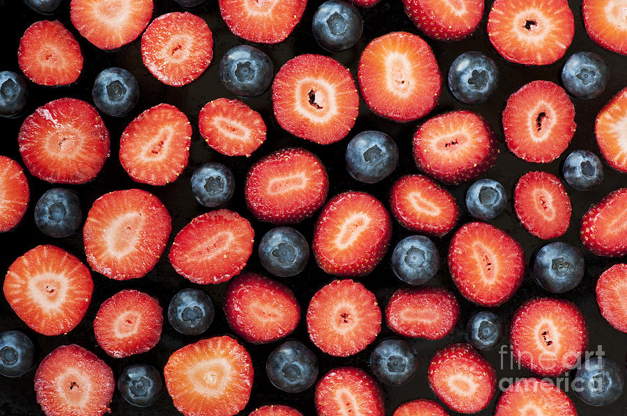 Strawberries Photograph - Strawberries And Blueberries by Tim Gainey