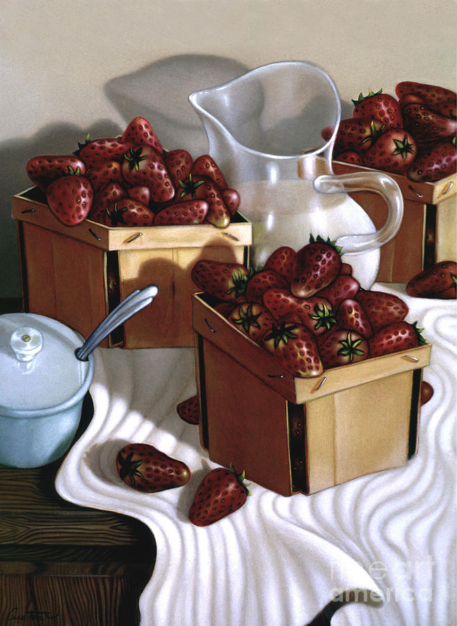 Still Painting - Strawberries And Cream 1997 by Larry Preston