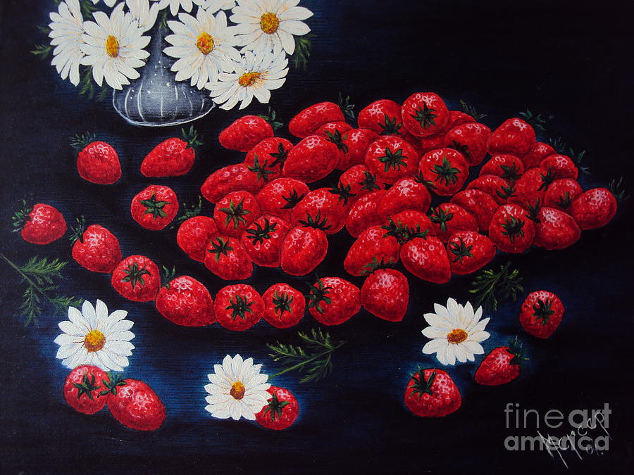 Strawberry Painting Painting - Strawberries And Daisies Original Painting Oil On Canvas by Drinka Mercep