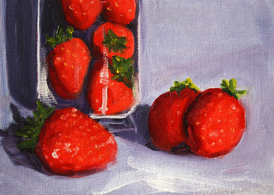 Strawberry Painting - Strawberries And Glass by Nancy Merkle