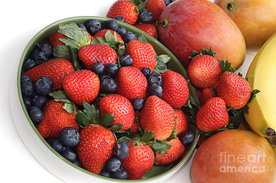 Fruit Photograph - Strawberries Blueberries Mangoes And A Banana - Fruit Tray by Andee Design