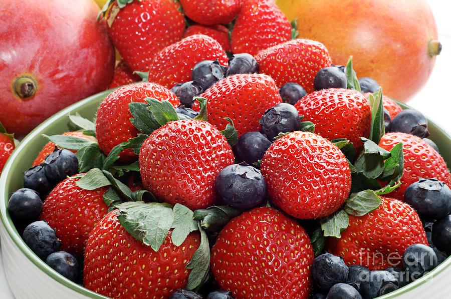 Strawberries Blueberries Mangoes - Fruit - Heart Health by Andee Design