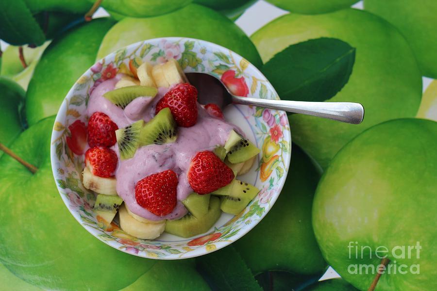 Strawberries Kiwi Banana Yogurt Photograph - Strawberries Kiwi Banana Yogurt - Fruit - Dessert - Food by Barbara Griffin