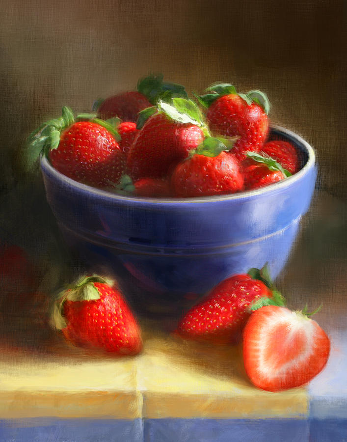 Strawberry Painting - Strawberries on Yellow and Blue by Robert Papp