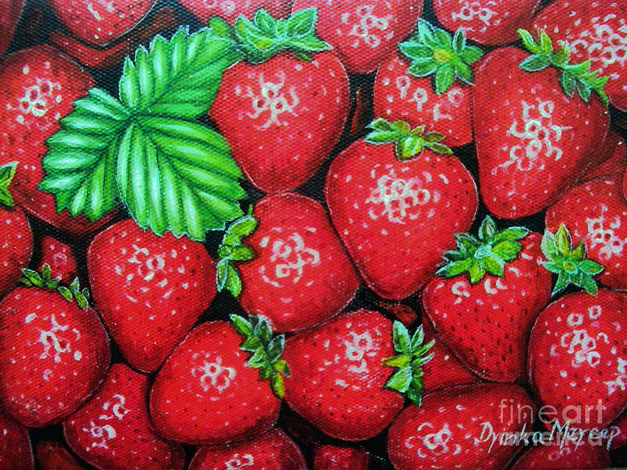 Strawberries Painting - Strawberries Painting Oil On Canvas by Drinka Mercep