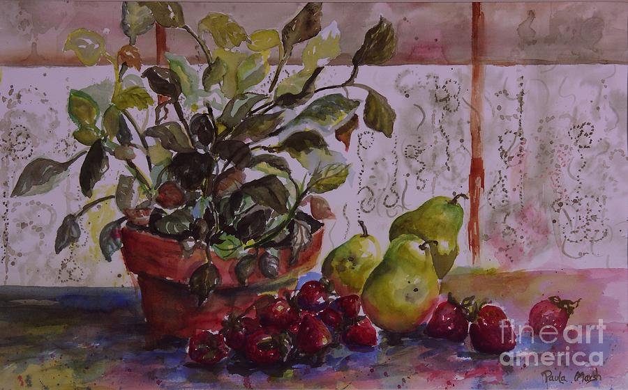Strawberries Painting - Strawberry Afternoon W/ Pears by Paula Marsh