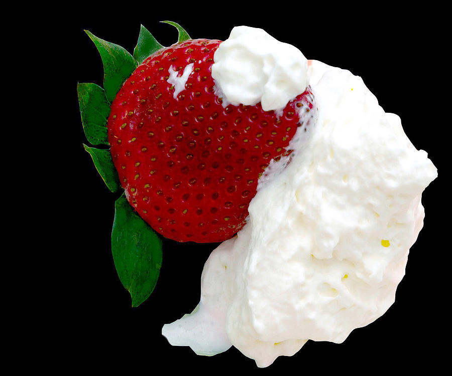 Strawberry Photograph - Strawberry And Cream by Camille Lopez