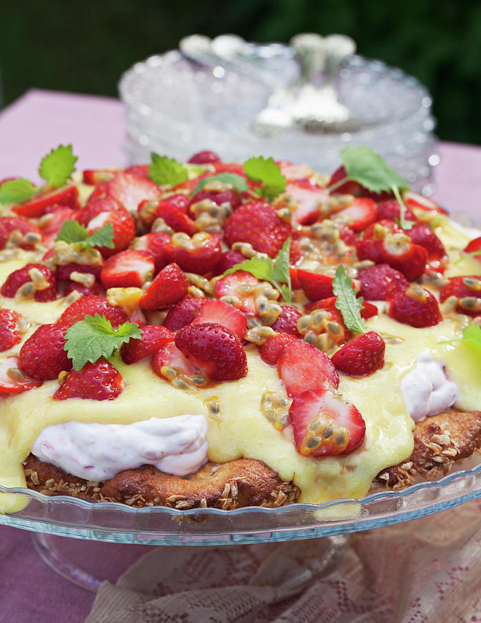 Strawberry Cake, Close-up Photograph by Johner Images