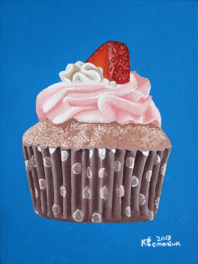 Cupcake Painting - Strawberry Cupcake by Kayleigh Semeniuk