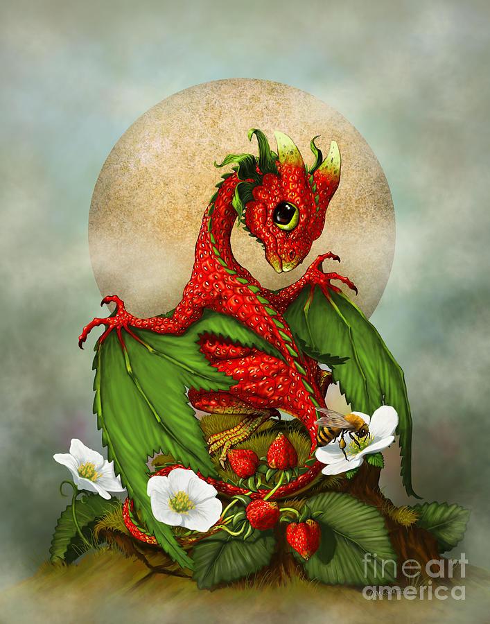 Dragon Digital Art - Strawberry Dragon by Stanley Morrison