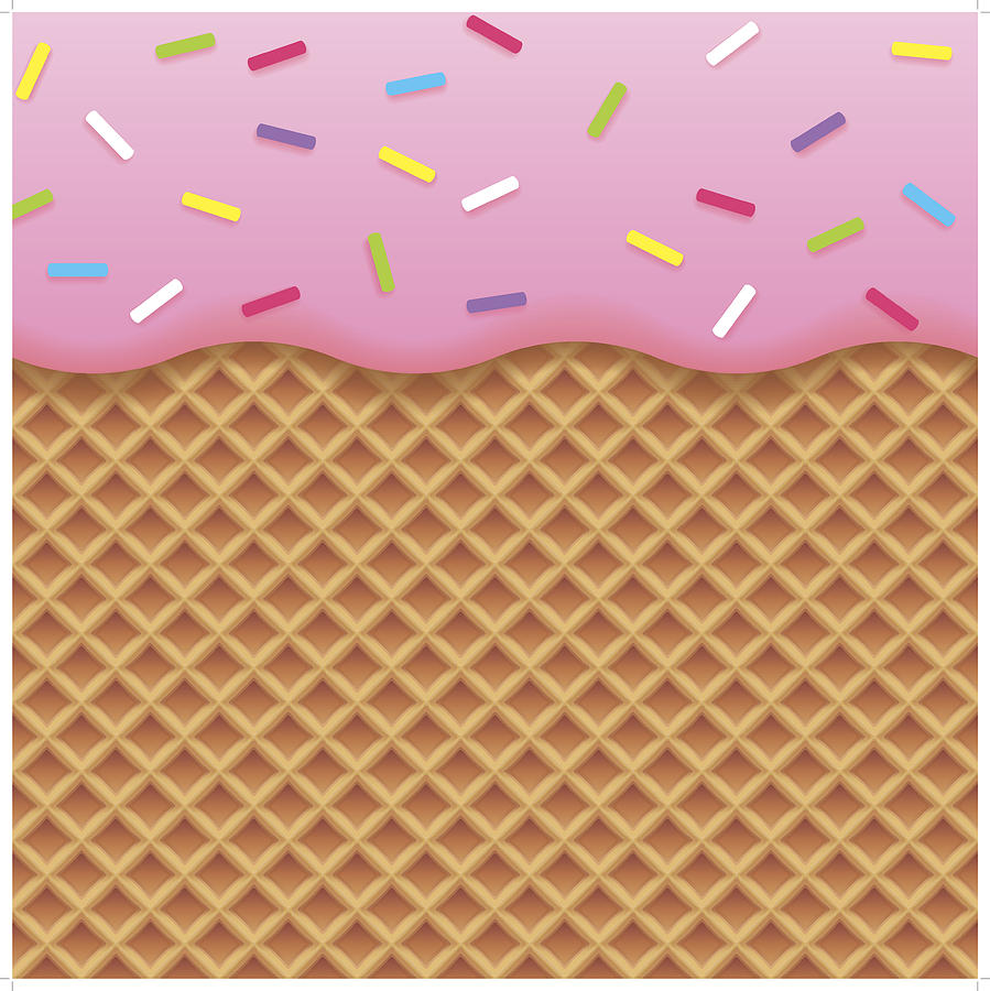 Strawberry Ice Cream And Wafer Background Drawing by Molotovcoketail