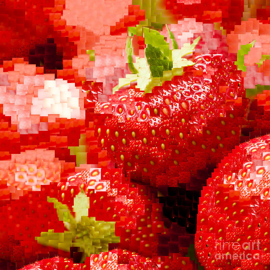 Ananassa Photograph - Strawberry Mosaic by Anne Gilbert