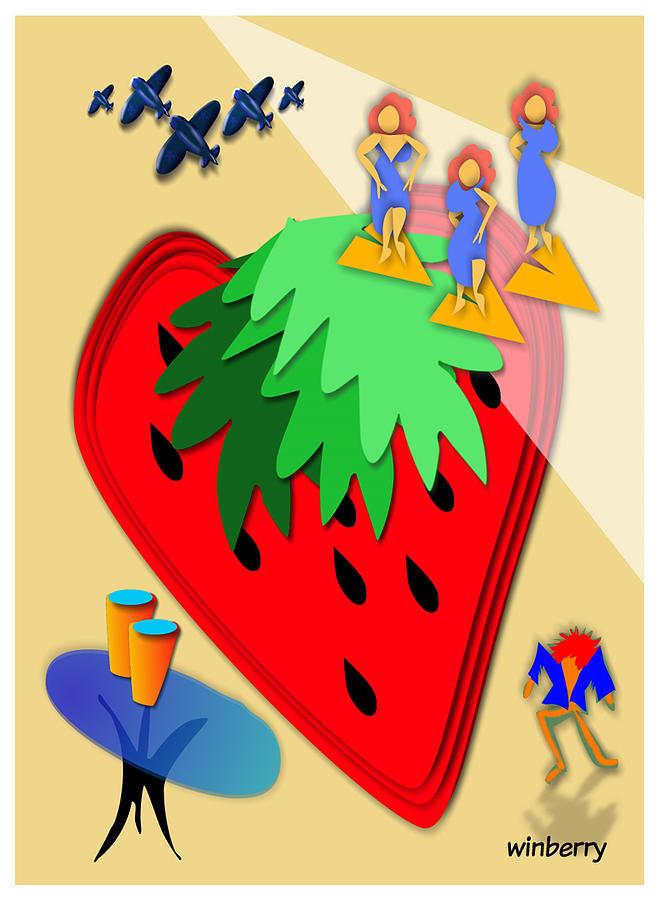 Winberry Digital Art - Strawberry Wars by Bob Winberry