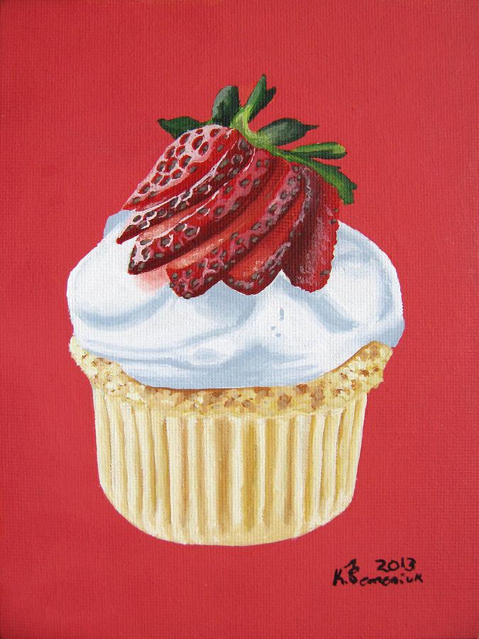 Cupcake Painting - Strawberry White by Kayleigh Semeniuk