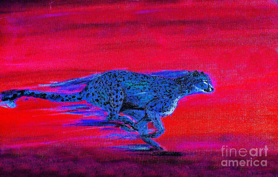 Streaking Cheetah Painting