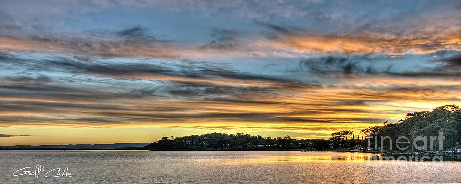 Sunset Photograph - Streaky Sunset - Wangi Wangi by Geoff Childs