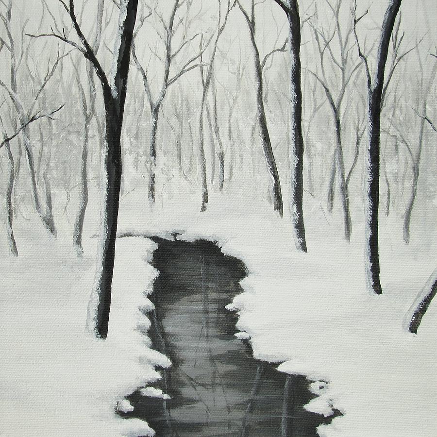 Stream In A Snowy Wood Painting By Anna Bronwyn Foley