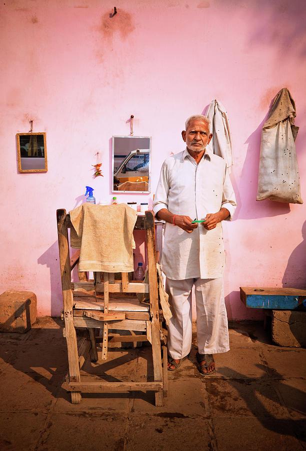 Street Barber In India Photograph by Nikada