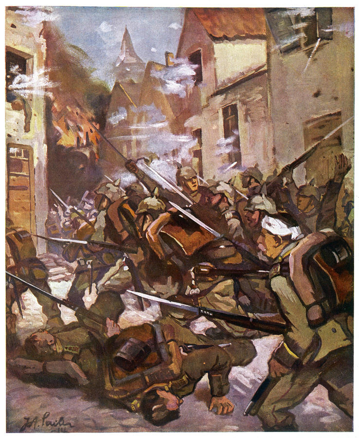 Wwi Drawing - Street Fighting In A French  Village by Mary Evans Picture Library