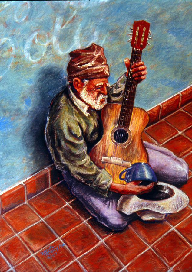 Guitar Painting - Street Guitar    by Dan Terry
