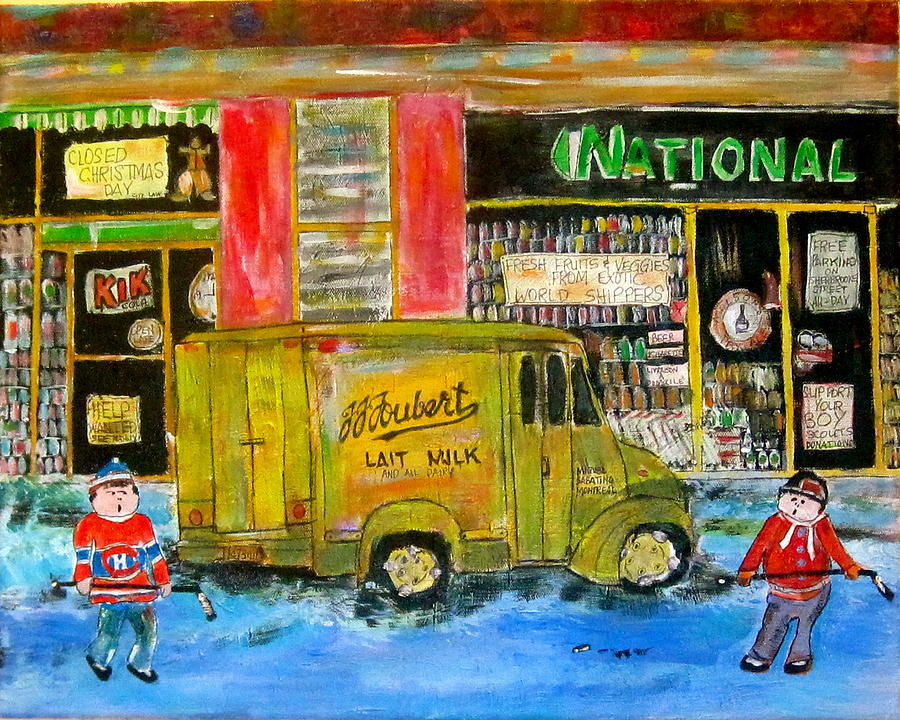 Hockey Painting - Street Hockey And Milkman by Michael Litvack