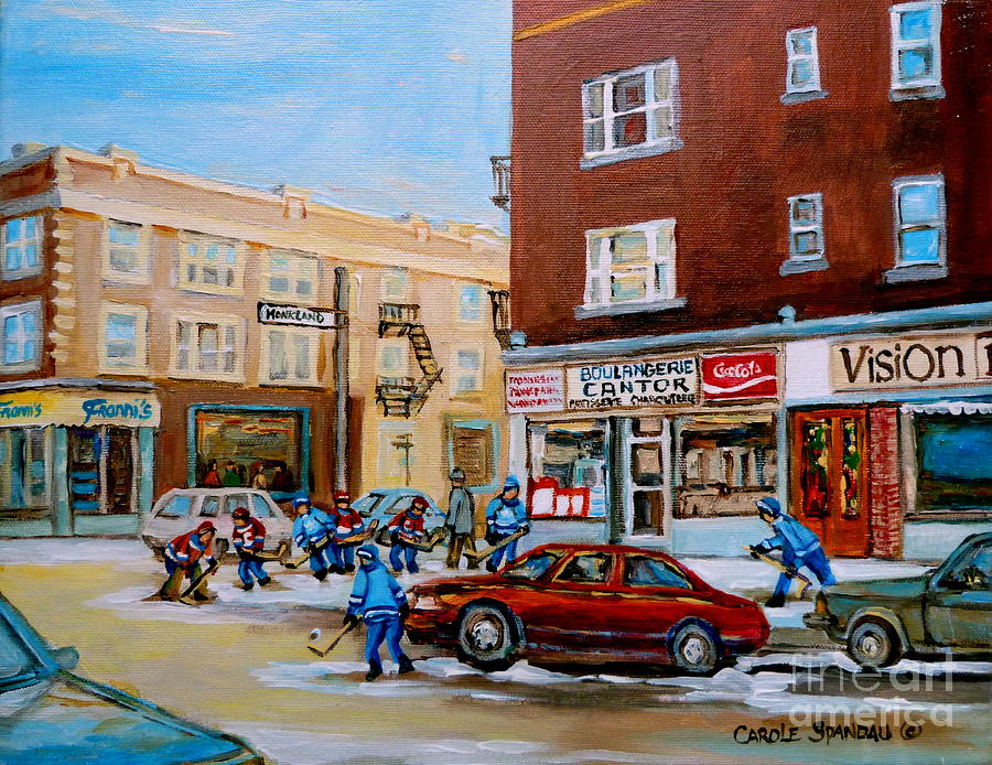 Montreal Painting - Street Hockey On Monkland Avenue Paintings Of Montreal City Scenes by Carole Spandau
