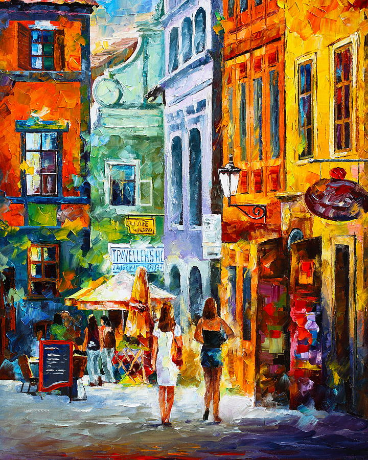 Street In Amsterdam Painting By Leonid Afremov