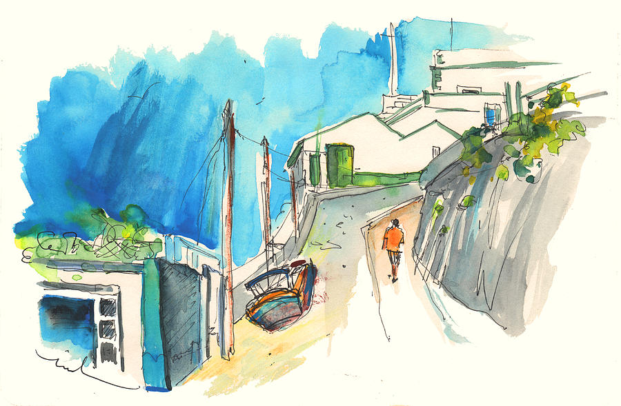 Ericeira Painting - Street In Ericeira In Portugal by Miki De Goodaboom