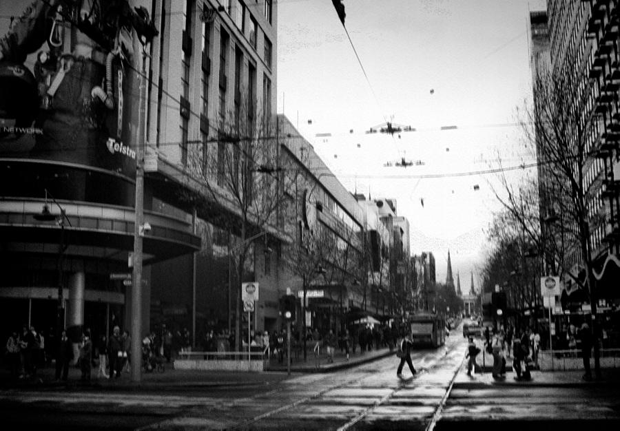 Bw Photograph - Street In Melbourne  by Sanjeewa Marasinghe