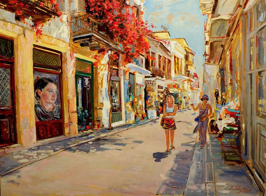 Street Painting - Street In Nafplio Greece by Sefedin Stafa