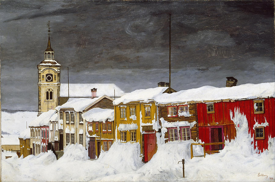 Street In Roros In Winter Painting by Harald Sohlberg