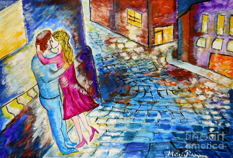 Kiss Painting - Street Kiss By Night  by Ramona Matei