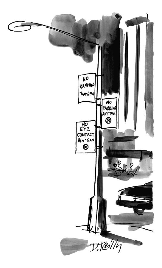 Street Lamp In City Has Three Signs On It:  No Drawing by Donald Reilly