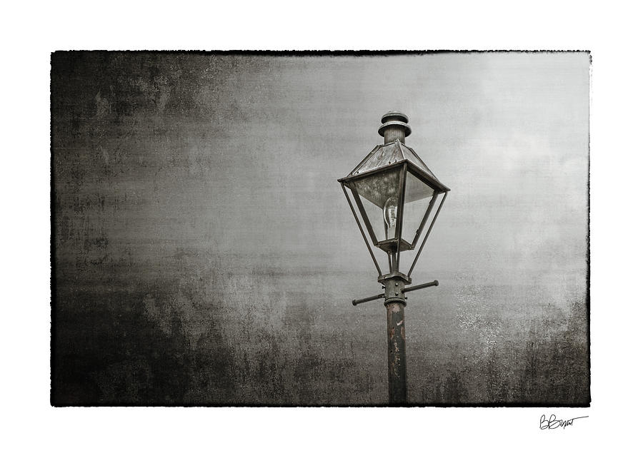 New Orleans Photograph - Street Lamp On The River In Black And White by Brenda Bryant