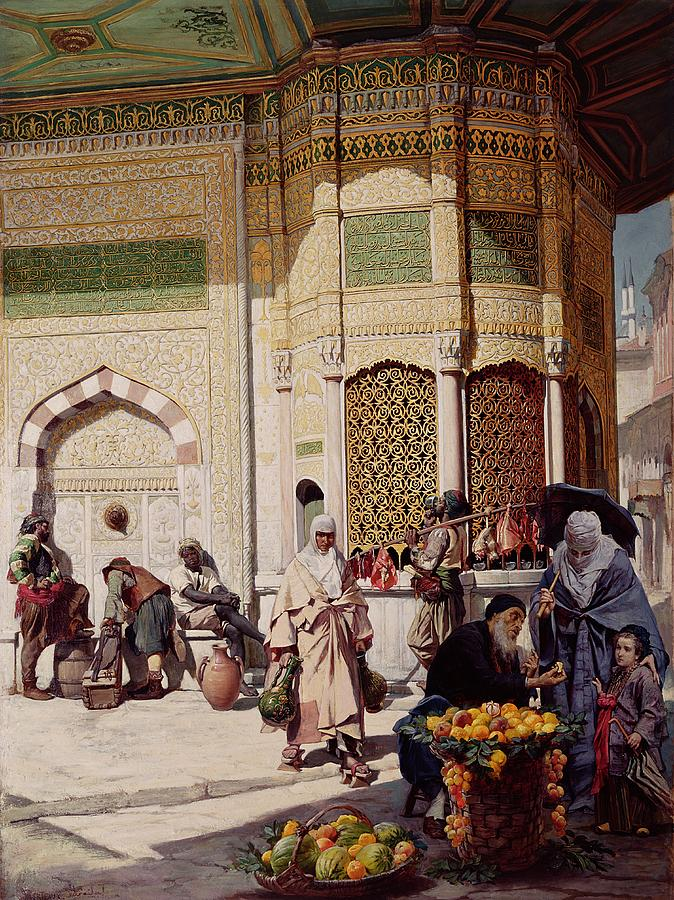 Constantinople Painting - Street Merchant In Istanbul by Hippolyte Berteaux